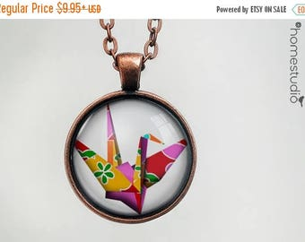 ON SALE - Paper Crane : Glass Dome Necklace, Pendant or Keychain Key Ring. Gift Present metal round art photo jewelry by HomeStudio