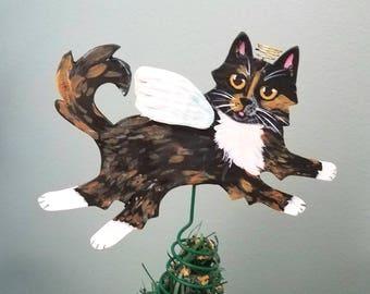 Tortoiseshell Cat Angel Tree Topper - Cat Tree Topper - Mini Tree Topper - Christmas Tree Topper - Topiary Topper - Tortie Cat Theme Tree