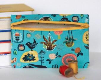 Teal Garden Handmade Zipper Pouch Accessory Case - Organic Cotton