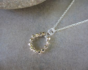 Gold and Silver Necklace, Circle Pendant, Mixed Metals, Gold Nugget, Wire Wrapped, Round, Small, Sterling Silver, Irisjewelrydesign