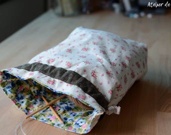 Project bag Knitting bag drawstring bag floral prints