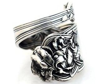 Spoon Ring Sterling Silver Fleur de Lis Iris Alvin 1907 Teaspoon Size 6-15