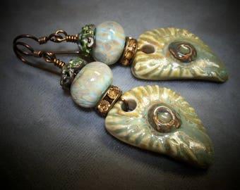 Glass Lampwork and Ceramic Beaded Earrings-Organic Artisan Earrings-Rustic Earrings-Artisan Lampwork Earrings-SRAJD-Artisan Ceramic Beads