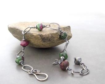 ruby zoasite and silver bracelet, metalwork gemstone bracelet, wirewrap bracelet, oxidized bracelet, silver bracelet
