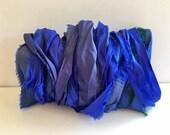 Silk Sari Ribbon-Recycled Royal Blue Mix Sari Ribbon-10 Yards