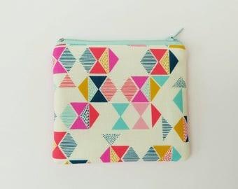 Geometric Triangles Fabric Coin Pouch, Small Purse in Bright Geometric Cotton on Cream