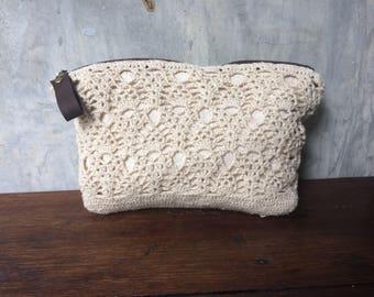Free shipping hemp crochet lace cosmetic bag