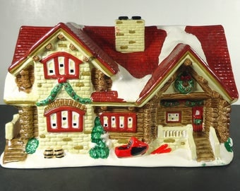 Vintage 1995 Santa's Best - Christmas in The Rockies - Hand Painted Porcelain STONE and LOG CABIN Chalet with Original Box
