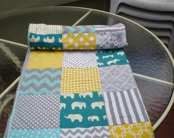 Handmade Baby quilt, grey, teal, yellow, baby girl quilt, baby boy bedding, patchwork crib quilt, woodland, elephant, chevrons, Teal Ellie