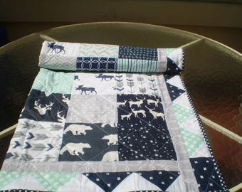 Baby Quilt, baby deer quilt, Baby Boy Bedding, Baby Girl Quilt, crib quilt, Woodland, mint, grey, navy, Bear, Moose, Arrow- And Bullwinkle2