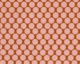 OOP Amy Butler - Full Moon Polka Dots in Camel by the Yard - Pinks Designer Fabric - Lotus Collection