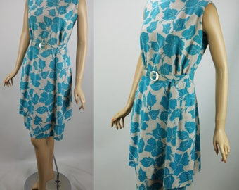 RESERVED Vintage 1950s Ivory and Teal Rayon Print Dress B40 W30