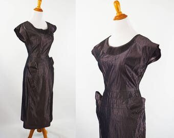 Vintage 1950s Dress Dark Grey Taffeta Form Fitting by Milton Lippman B36 W25