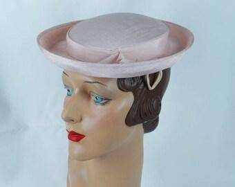 1950s Vintage Hat Pale Pink Faille Breton