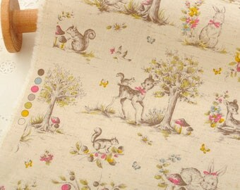 4443 - Japanese Animal in Forest Cotton Linen Blend Fabric - 43 Inch (Width) x 1/2 Yard (Length)