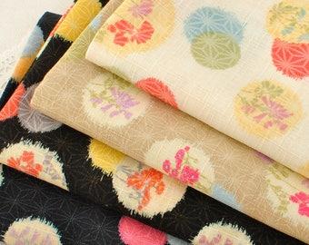 4445 - Japanese Flower Spot Slubbed Cotton Fabric - 43 Inch (Width) x 1/2 Yard (Length)