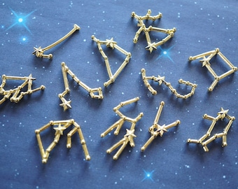 12 pcs Constellations Metal Motifs / Resin Inserts Inclusions  (Less than 25mm) AA074