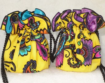 Sunny Flourish Jewelry Pouch in yellow and turquoise or purple, Jewelry Travel Organizer, Jewerly Bag