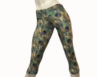 SALE xs/s - Yoga Pants - Workout Clothes - Hot Yoga - Fitness - Green - Feather - Peacock Pants - Low Rise - Capri - SXY Fitness  - USA -