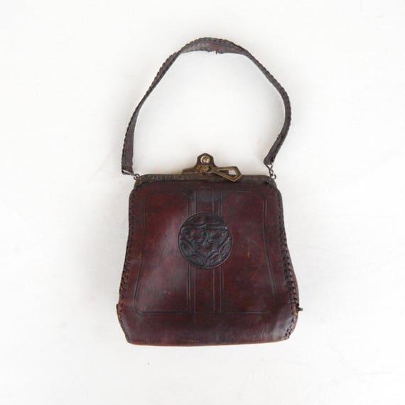 Art Nouveau Hand-Tooled Leather Purse Bag 1900s