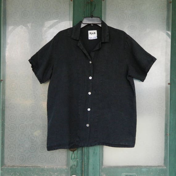 FLAX Designs Short-Sleeve Blouse -S- Black Linen