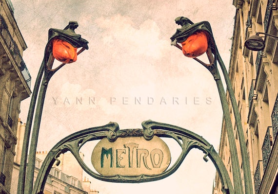 Metro Sign, Art Nouveau, Architecture, Paris wall decor, Paris Metro Photo, steampunk art, steampunk print, industrial decor