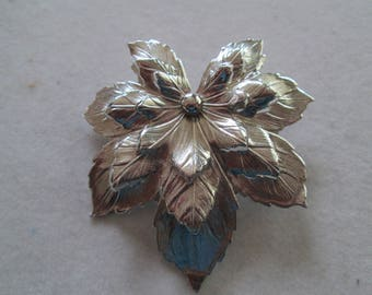 """Silver stacked Maple brooch pin measures 2 1/4"""" x 2 1/4"""""""