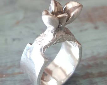 Silver Succulent Ring Statement Sterling Silver Organic Flower Band