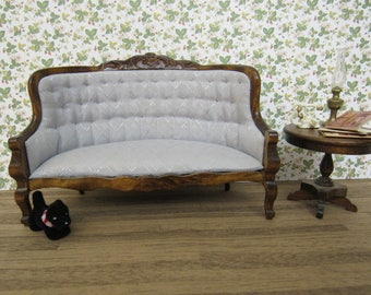 Elegant Vintage Dollhouse Miniature Antique Inspired SOFA Blue Tufted Damask Settee Carved Wood Victorian Couch Cabriolet Legs