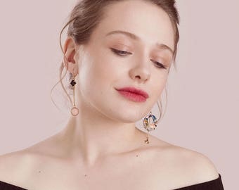 Asymmetrical Earrings Hoops  - Star Earrings - Mismatched Earrings - Olga (SD1334)