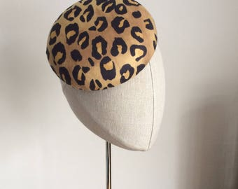 Leopard Print Cocktail Hat Hand Blocked Faux Suede Mini Pillbox Hat Fascinator