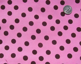 Vintage Rayon Fabric Hand Dyed Bright Pink Black Dots  32 x 1 yd 23