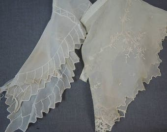 2 Antique Collars, Embroidered Chiffon Dress or Blouse Collars, Ivory 1900s to 1930s