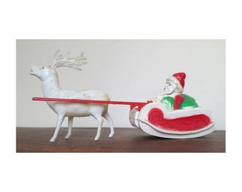 Vintage Celluloid Santa in Sleigh with Deer - 7 inches, Irwin, 1930s 1940s toy Christmas Decoration