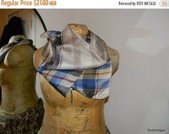 Christmas in July Vintage Silk Plaid Scarf, Blues and Browns