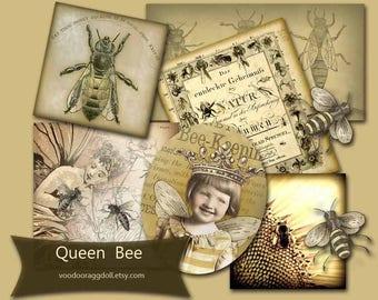 Digital Collage Download - Queen Bee