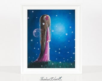 Night Of 50 Wishes - Fairy Art Print - Gift For Daughter - Dreamy Landscape - 8x10 Inches - Limited Editions by Erback - New Baby Girl Gifts