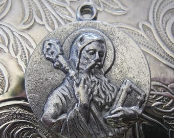 ON SALE Saint Benedict Religious Medal, Medium Silver Holy Italian Medallion, Patron Saint Of Schoolchildren, Europe, Kidney Disease, No Poi