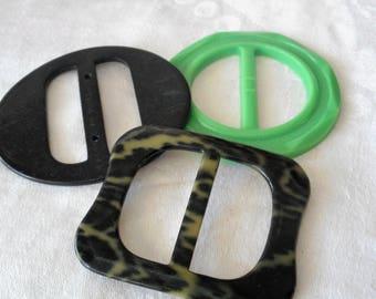 Lot of 3 VINTAGE Plastic & Celluloid Camo Slide Belt Buckles  B15