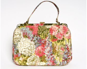 Vintage 1960s Bright Floral Fabric Handbag Purse with Gold Stitching