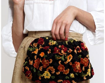 Vintage 1960s Autumn Tone Chenille Floral Tapestry Convertible Handbag Clutch with Matching Coin Purse