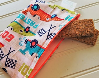 Snack-Bag-Race-Cars-Eco-Friendly-Reusable-Sandwich-Food-Travel-Art-Baby-Wet-Dry-Baggies-Lunch-Preschool-Back-To-School-Kids-Gift-Sets