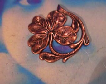 Copper Ox Plated Four Leaf Clover Shamrock Stamping 2242COP x1