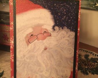 Sweet glittery litte 5x7 santa canvas