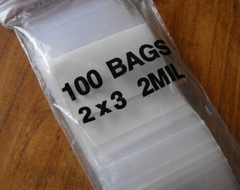 Summer Sale 100 Pack White Block Zip Top Poly Pags 2 x 3 Inch Size Great for Beads,collectibles,stamps, etc.