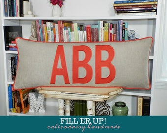 FILL'ER UP Large Applique Monogram Pillow Cover - 14 x 24 or 14 x 28 or 14 x 36