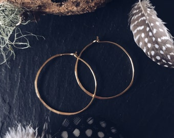Small Hoops thin Brass Hammered One inch