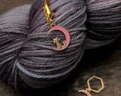 Enamel Moon and Cat Knitting Stitch Marker / Progress Keeper