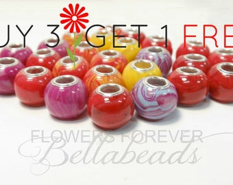 Funeral Flower Beads/Charm Bracelet Beads/Remembrance Jewelry/SAVE up to 50.00/Memorial Gift/Pet Memorial Jewelry/Large Hole Bead/Round BOGO