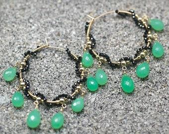 Summer SALE Chrysoprase, Black Spinel gemstone hoop earrings, Apple green Chrysoprase, 14k Gold Filled Hoops, Green earrings ... MARINI Earr